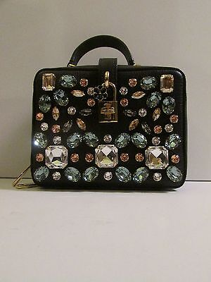 Auth Runway Limited Edition Dolce&Gabbana Black Jeweled Leather Bag NWT $2995