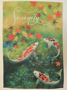 Serenity asian style koi fish pond japanese maple ginkgo for Japanese fish flag