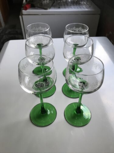 6 verres à vin blanc d'alsace luminarc france avec décors
