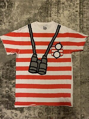 NWOT Mens Medium Where's Waldo Striped T-Shirt Halloween / Cosplay Costume