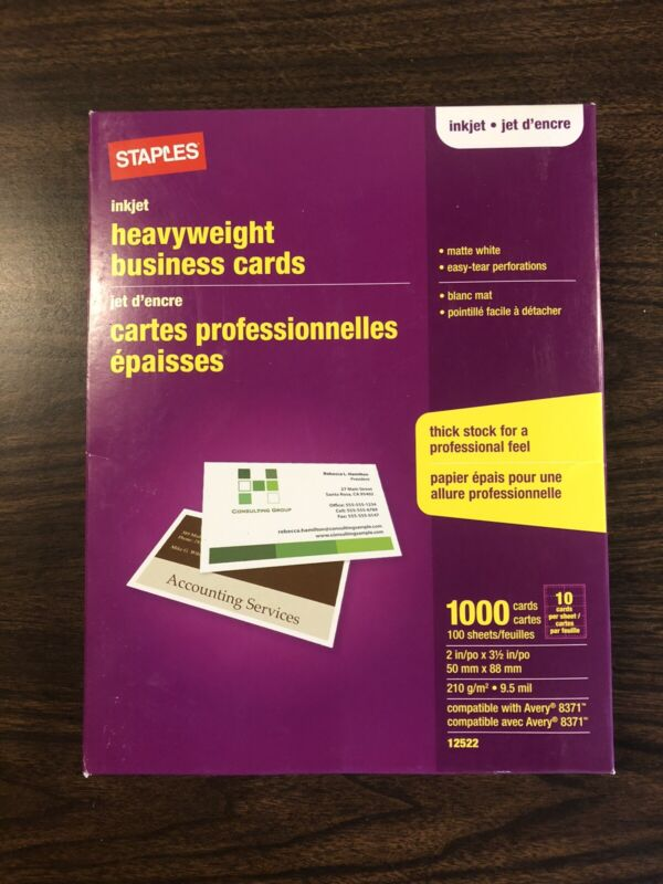 Staples Inkjet Heavy Weight Matte White Business Cards, 1000 Ct  ~ Free Shipping