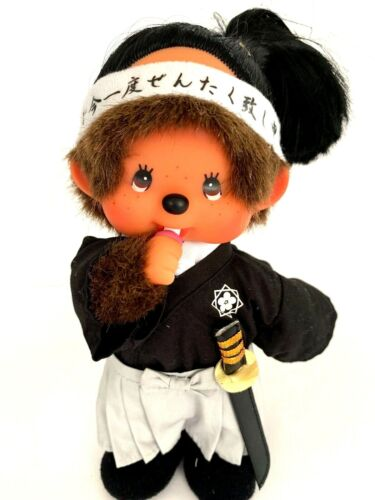 "SEKIGUCHI Monchhichi Plush Stuffed Doll Boy 8"" Samurai Sword"