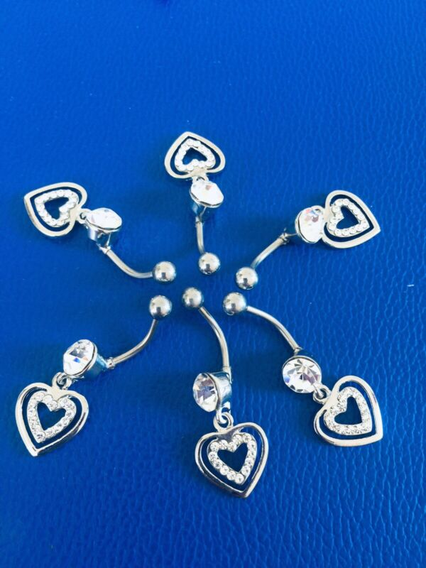 Uk+Wholesale+6+Pcs+High+Quality+Lovely+Heart+Belly+Bars+316L+Surgical+Steel