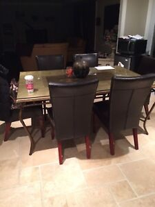 4 leather parson chairs