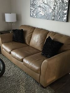 2 piece 100 % leather tan couch and love seat, 4 yrs old