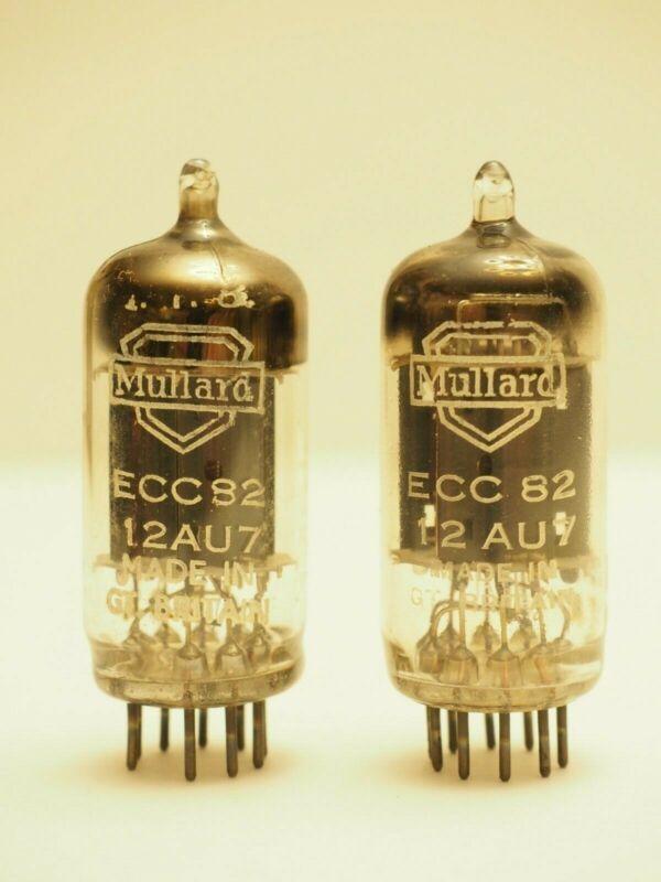 Mullard ECC82 12AU7 Matched Pair 17mm Long Plates Square Getter 1957 1958 k61