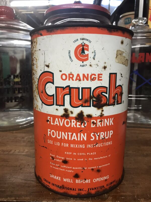 VINTAGE ORANGE CRUSH FOUNTAIN SYRUP CAN BOTTLE SIGN THERMOMETER CRUSHY SUNDROP