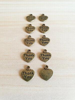 10 x Herz Anhänger THANK YOU ♥ Danke ♥ Schmuckzubehör Basteln Deko Charms Bronze