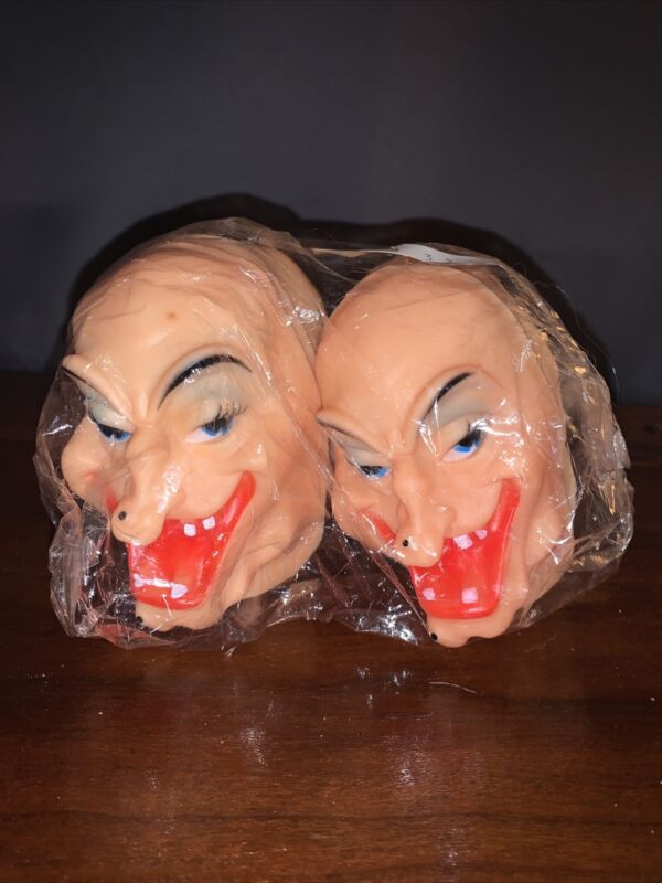 Doll Parts Witch Face 60s Molded NOS LOT