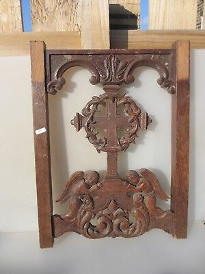 Antique Carved Wooden Church Furniture Back Cross Angel Victorian Christianity