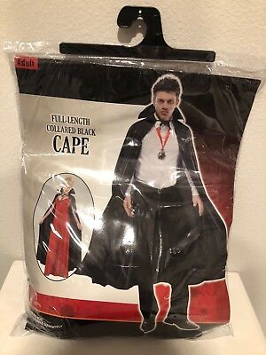 Full Length Collared Cape, Unisex Vampire Halloween Costume, One Size Fits Most - Full Length Halloween Costumes
