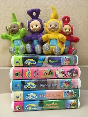 Teletubbies Vhs Lot With Free Plushies Plush Pbs