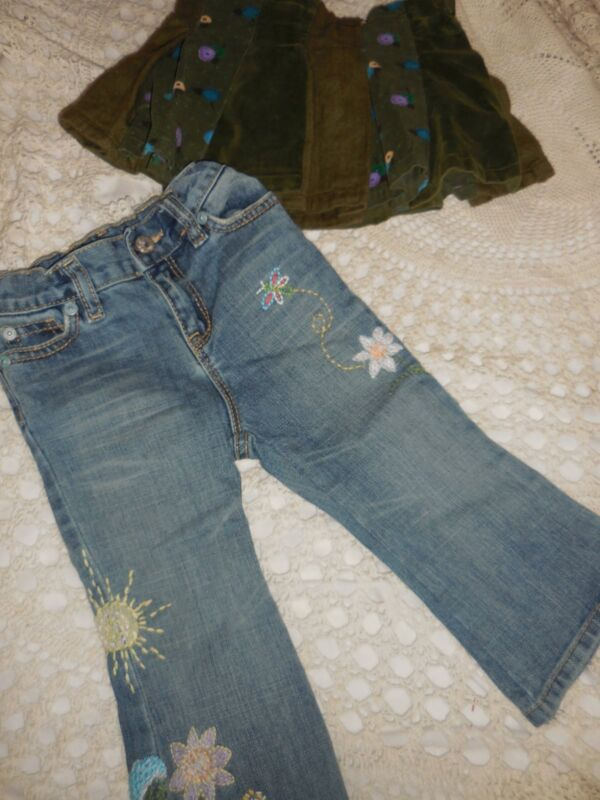 Euc Lot 2 Baby Gap Skirt Embroidered Jeans Baby Girl 18 M 24 M Free Ship Usa