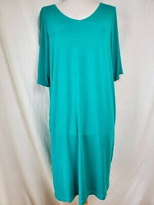 Eileen Fisher Sheath Dress L Viscose Jersey Turquoise Relaxed Knee Length