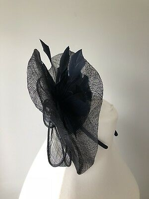 M&S Fascinator, Navy, Mesh & Feathers, BNWT