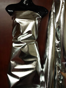 Metallic Shiny Silver Foil Lame Dress Fabric Material 45