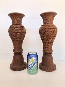 TWO WOODEN CARVED VASES