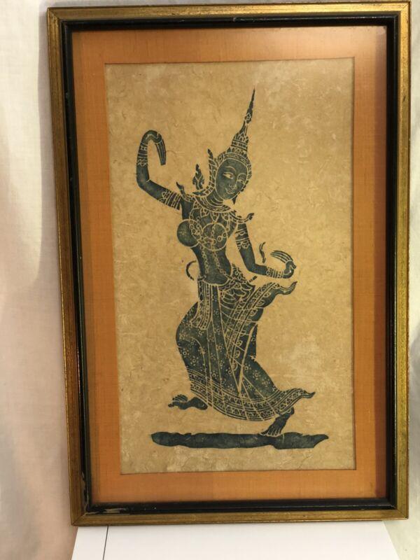 Thai Dancer Temple Rubbing - Professionally Framed