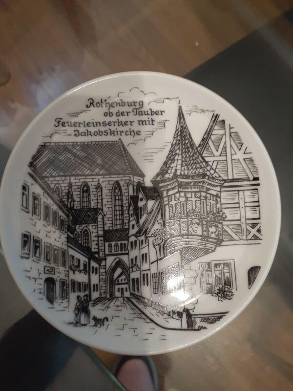 Vintage Rothenburg Ob Der Tauber, Feuerleinserker Mib Jakobskirche Plate