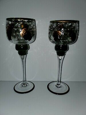 Yankee Candle Hand Painted Votive/ Tea Light Crackle Glass Candle Holders