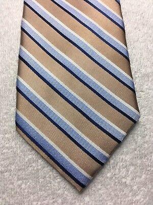 Nautica Herren Krawatte Beige und Blau Gestreift 3.25 X 60 - Nautica Gestreifte Krawatte