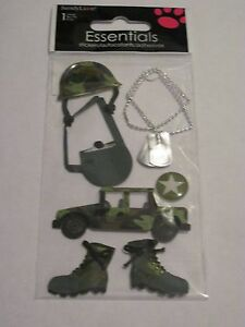 Scrapbooking Crafts Sandylion Military Camo Jeep Boots Helmet Tags Army Canteen