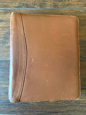 Brown Cognac Leather Franklin Quest Binder Planner Cover Notebook 11x9 For 8.5x5