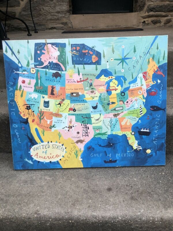 Crate & Barrel's Land Of Nod US Map for Kids Made By Oopsy Daisy - Canvas
