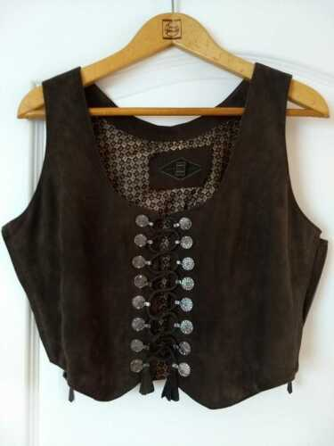 Bavarian Trachten Vest,  Leather, Woman Size 38