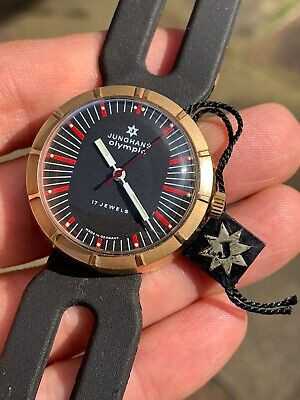 1970s Vintage Junghans Olympic Hand-winding Mens Watch With Tag 35,6mm