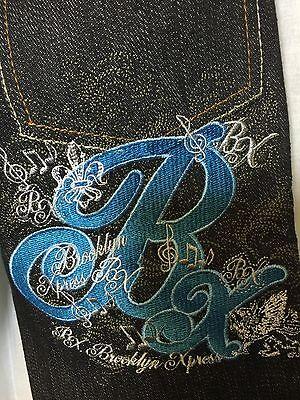 Brooklyn Xpress Kids Boys Girls 2T Jeans Navy Blue Denim Pants Embroidered New