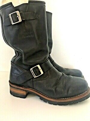 XELEMENT Black Leather Motorcycle Boots Estimated size 10
