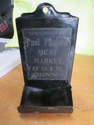Vintage Tin Advertising Match Safe Paul Paulson Meat Market Odin Minnesota No R