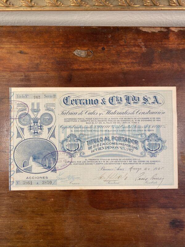 1925 Cerrano & Cia Stock Certificate - Buenos Aires