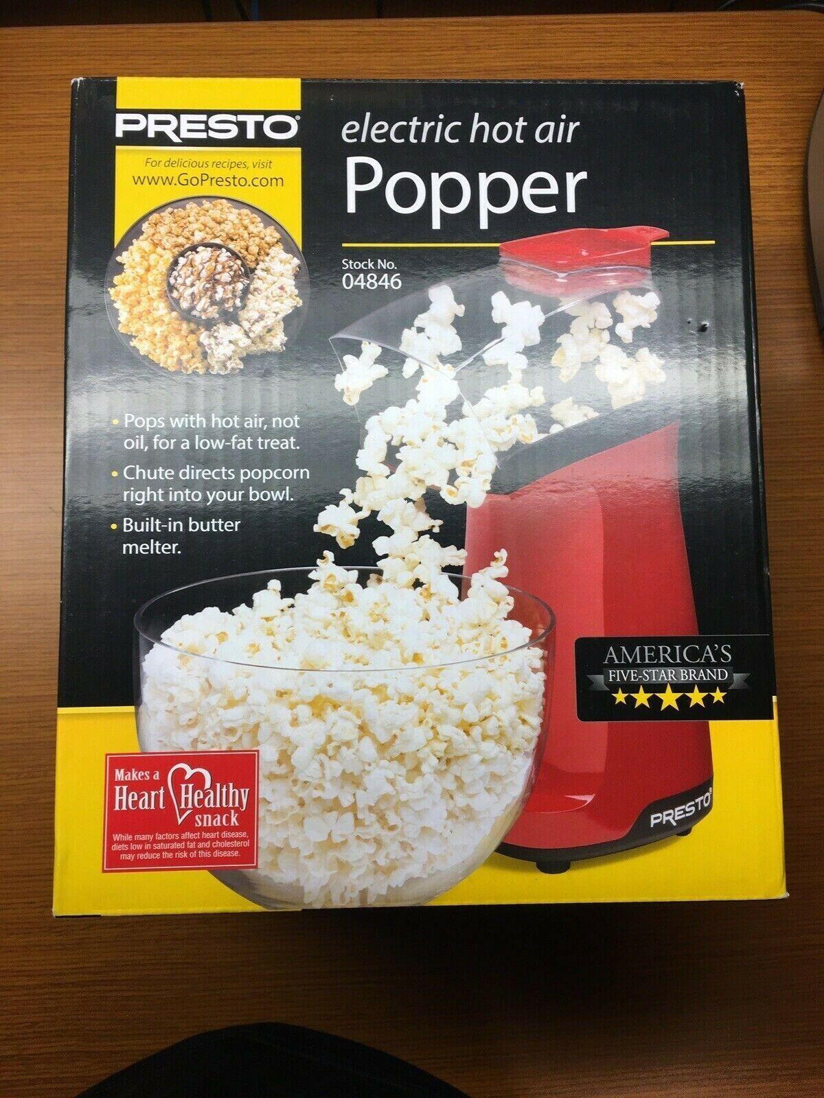 NEW•Presto•Electric Hot Air Popcorn Popper•Model No.04