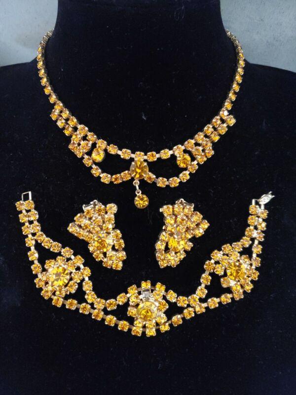 Vintage Bright Orange Rhinestone Parure Necklace Bracelet Earrings