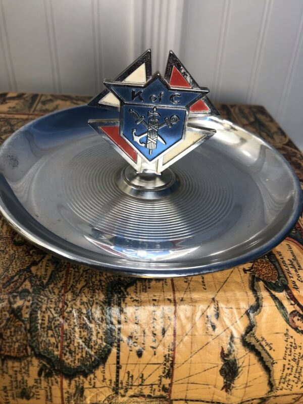 Vtg Knights of Columbus K of C Crest Metal Ashtray USA Collectible Coin Tray