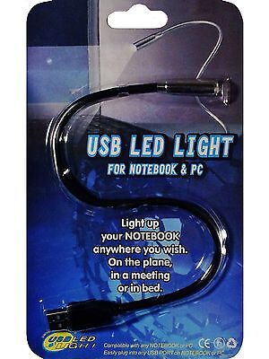 Computer PC Laptop 1 LED USB Lamp Bright White Light With Flexible Arm