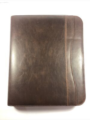 Day Timer Planner Organizer 3 Ring Binder Zippered Brown Faux Leather 8x10
