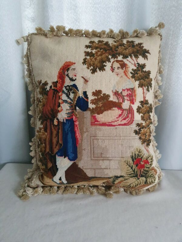 Stunning antique  needlework  woolwork cushion pillow beautiful condition