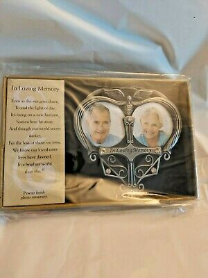 In Loving Memory Ornaments (In Loving Memory Double Photo Ornament Memorial Pewter Finish W/)