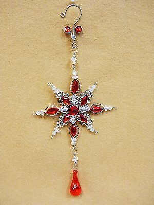 Red Jeweled SNOW FLAKE  Christmas Ornament Decoration Ovid Faceted Gems 10