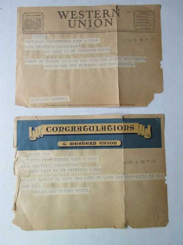 lot of 2 - 1947 Western Union telegrams Paterson, NJ