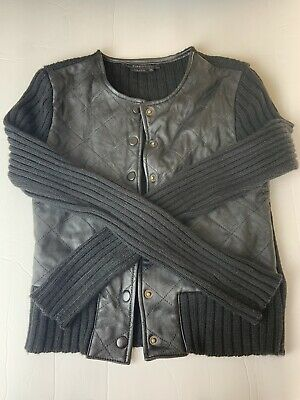 BCBG Maxazria Black Leather Jacket Mixed Knit Fabric Button Down Size Small