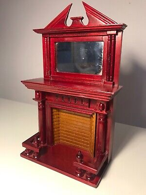 Traditional dolls house furniture - tall red fireplace with mirror and frame