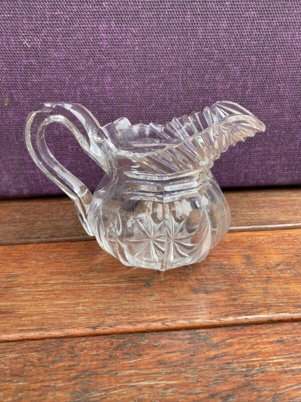 A Lovely And Heavy Antique Georgian Cut Glass Jug c1840