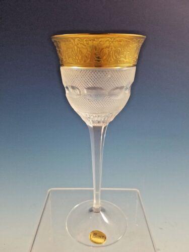 "Never Used Moser Splendid Gold Crystal Glass Wine Hock Goblet 7 1/2"""