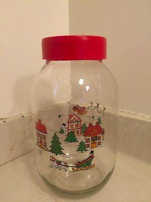 Mid Century Vintage 1970's Carlton Glass 3L Christmas Santa Snowman Cookie Jar