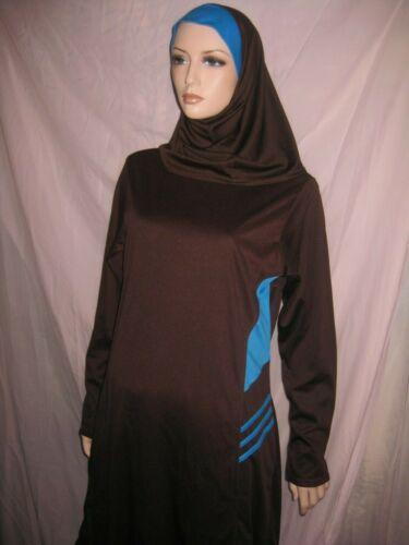EUC 3PC XL brown blue Muslimah modest bathing swimsuit BURKINI hijab ISLAM