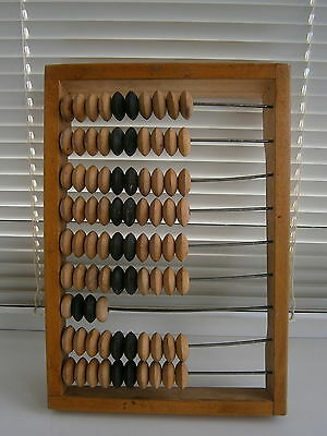 Vintage Russian Counting Frame Wooden Abacus Beads Soviet Shop Clerk Signed USSR